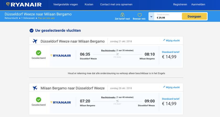 Ryanair Milaan